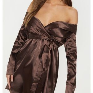 NWT PRETTYLITTLETHING  brown waist shift dress  2